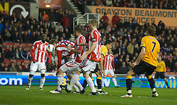 STOKE-ON-TRENT, ENGLAND - Tuesday, May 1, 2012: Stoke City's Peter Crouch scores an own goal during the Premiership match against Everton at the Britannia Stadium. (Pic by Chris Brunskill/Propaganda)