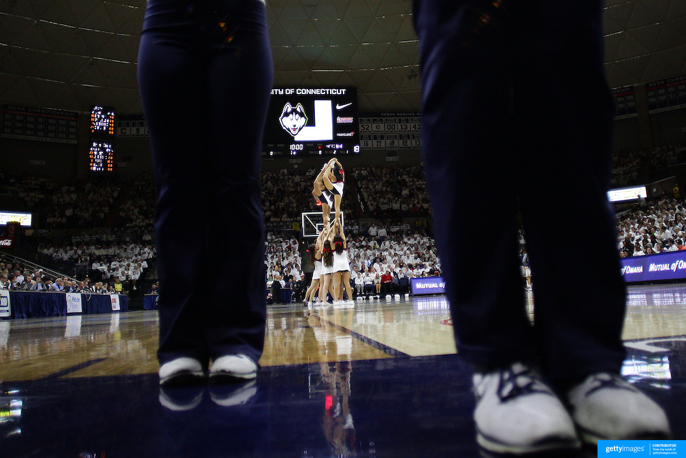 The UConn Huskies cheerleaders in action during the Notre Dame Vs UConn Women's Basketball game at Grampel Pavilion, Storrs, Connecticut, USA. 5th December 2015. Photo Tim Clayton