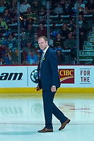 REGINA, SK - MAY 23: Wayne Pansegrau of Top Shelf Arena Services checks the temperature of the ice after warm up at the Brandt Centre on May 23, 2018 in Regina, Canada. (Photo by Marissa Baecker/CHL Images)