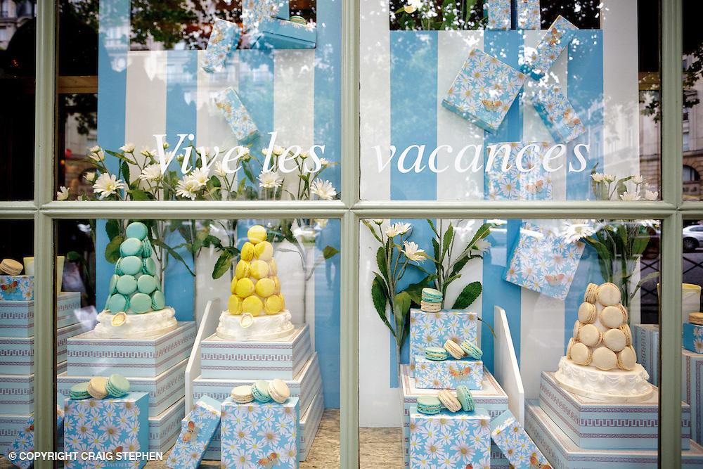 Window of eorld-famous macaroon shop, Lauduree, Paris