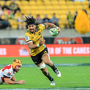 Ardie Savea during the Super rugby (Round 12) match played between Hurricanes  v Lions, at Westpac Stadium, Wellington, New Zealand, on 5 May 2018.  Hurricanes won 28-19.