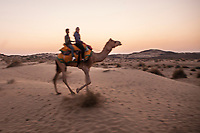 A female tourist on a camel trek in the Thar desert with her camel driver at dusk, Rajasthan, India.