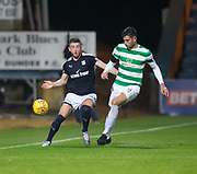 20th September 2017, Dens Park, Dundee, Scotland; Scottish League Cup Quarter-final, Dundee v Celtic; Celtic's Nir Bitton and Dundee's Randy Wolters