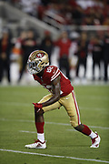 San Francisco 49ers wide receiver Richie James Jr. (82) in action during the 2018 NFL preseason week 4 football game against the Los Angeles Chargers on Thursday, Aug. 30, 2018 in Santa Clara, Calif. The Chargers won the game 23-21. (©Paul Anthony Spinelli)