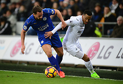 Daniel Drinkwater of Leicester City battles for the ball with Martin Olsson of Swansea City - Mandatory by-line: Alex James/JMP - 12/02/2017 - FOOTBALL - Liberty Stadium - Swansea, England - Swansea City v Leicester City - Premier League