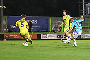 Forest Green Rovers Isaac Pearce(17) shoots at goal scores a goal 4-0 during the EFL Trophy match between Forest Green Rovers and Cheltenham Town at the New Lawn, Forest Green, United Kingdom on 4 September 2018.