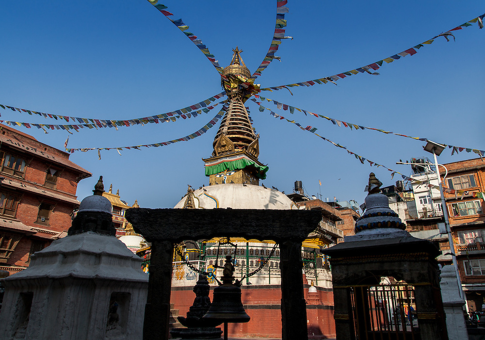 The Kathesimbhu Stupa in Thamel, Nepal, in the afternoon light.