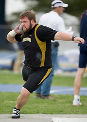 Andy Oaker in the shot put for Missouri.  The Virginia Cavaliers men's and women's track and field teams hosted the Missouri Tigers.  The Virginia women defeated Missouri while the Mizzou men defeated UVA on April 5, 2008 at The University of Virginia's Lannigan Field in Charlottesville, VA.