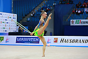 Tikkanen Jouki  during qualifying at ribbon in Pesaro World Cup 02 April 2016. Jouki was born 5 July, 1995. She is a Finnish individual rhythmic gymnast. Volkova Ekaterina during qualifying at clubs in Pesaro World Cup 02 April 2016. Ekaterina was born in Vantaa, Finland, 1997. She is a Finnish individual rhythmic gymnast.