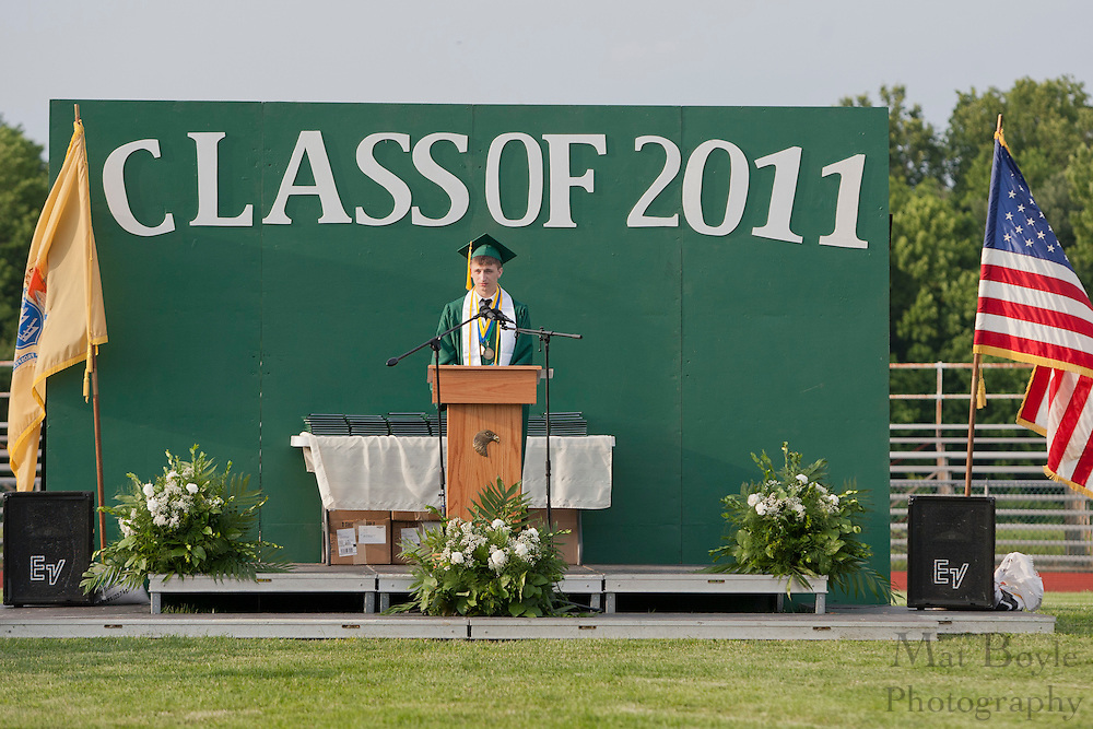 Salutatorian Ian Pass gives a commencement address during Graduation held on Monday June 20th.
