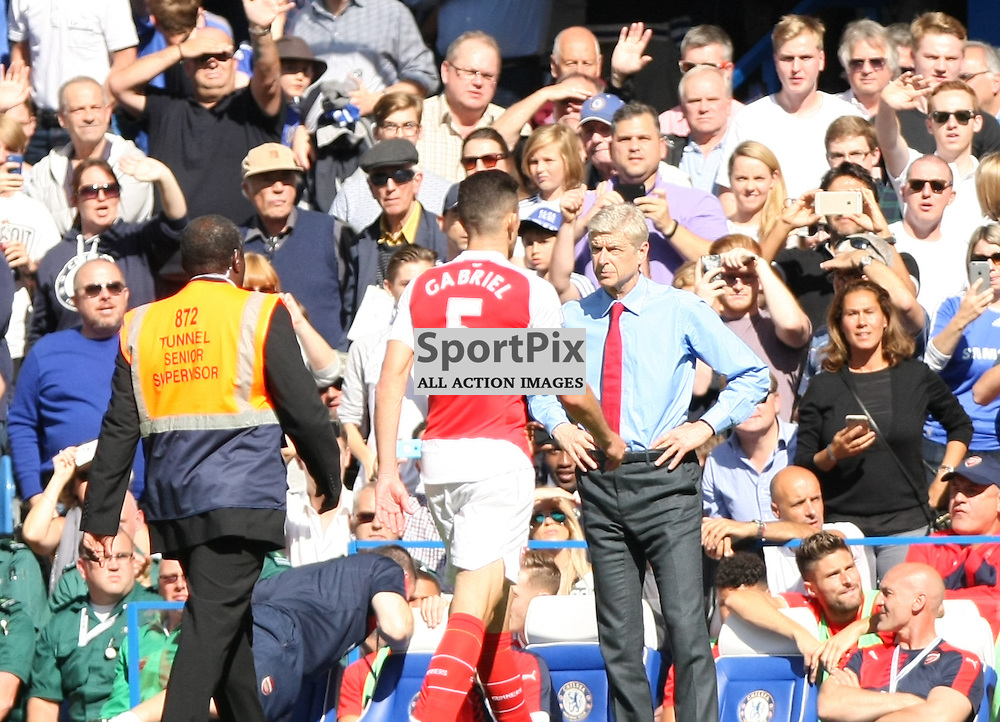 Arsenal manager Arsene Wenger looks on as Gabriel Paulista is sent off against Chelsea