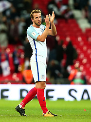Harry Kane of England applauds the fans at full time after scoring the winning goal to seal qualification to the 2018 FIFA World Cup in Russia - Mandatory by-line: Robbie Stephenson/JMP - 05/10/2017 - FOOTBALL - Wembley Stadium - London, United Kingdom - England v Slovenia - World Cup qualifier