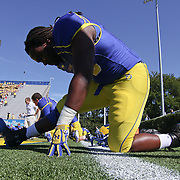 Delaware Defensive tackle Quincy Barr (90) stretching prior to a Week 3 NCAA football game against Bucknell University...#13 Delaware defeated The Bison of Bucknell 19 - 3 at Delaware Stadium Saturday Sept. 15, 2012 in Newark Delaware.