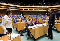 Nederland. Den Haag, 16 februari 2010.<br /> Tweede Kamer, debat rapport Davids, Irak rapport. In vak K : ter Horst, Verhagen, Balkenende en van Middelkoop.<br /> Foto Martijn Beekman