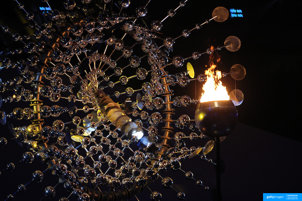 Opening Ceremony 2016 Olympic Games: The Olympic flame burning during the spectacular opening ceremony for the 2016 Olympic Games at Maracana Stadium on August 5, 2016 in Rio de Janeiro, Brazil. (Photo by Tim Clayton/Corbis via Getty Images)