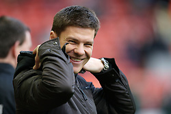 LIVERPOOL, ENGLAND - Sunday, December 2, 2007: Liverpool's injured midfielder Xabi Alonso wearing a 'hoodie' before the Premiership match against Bolton Wanderers at Anfield. (Photo by David Rawcliffe/Propaganda)
