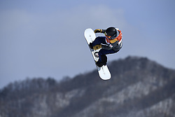 February 12, 2018 - Pyeongchang, South Korea - YUKA FUJIMORA of Japan on her way to a fifth place finish in the Womens Snowboard Slopestyle finals at Phoenix Snow Park at the Pyeongchang Winter Olympic Games.  Photo by Mark Reis, ZUMA Press/The Gazette (Credit Image: © Mark Reis via ZUMA Wire)