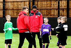Mark Little and Luke Freeman of Bristol City interact with children during The BCCT EFL Kids Cup - Mandatory by-line: Robbie Stephenson/JMP - 23/11/2016 - FOOTBALL - South Bristol Sports Centre - Bristol, England - BCCT EFL Kids Cup