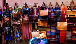 Goods for sale on display against a wall in the medina in Marrakech, Morocco, North Africa<br /> <br /> <br /> (c) Andrew Wilson | Edinburgh Elite media