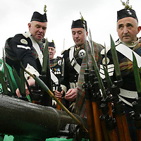 Atholl Gathering 2002...26.5.02<br />Members of the Atholl Highlanders lay down their guns on the canon as they watch the Atholl Gathering games held in the grounds of Blair Castle, Blair Atholl on Sunday afternoon.<br /><br />Picture by John Lindsay .<br />COPYRIGHT: Perthshire Picture Agency.<br />Tel. 01738 623350 / 07775 852112.
