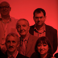 Members of the Union of Construction Allied Trades and Technicians (UCATT) pose for a group portrait at the Labour Party Conference in Manchester on 27 September 2010.