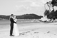 miriam & dan's coromandel wedding photos at lonely bay cooks beach by felicity jean photography