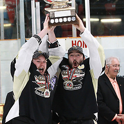 TRENTON, ON  - MAY 6,  2017: Canadian Junior Hockey League, Central Canadian Jr. &quot;A&quot; Championship. The Dudley Hewitt Cup. Championship game between Trenton Golden Hawks and the Georgetown Raiders. Lucas Brown #28 of the Trenton Golden Hawks and Josh Allan #53 Hoist the Dudley Hewitt Cup.<br /> (Photo by Tim Bates / OJHL Images)