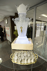 Vodka filled ice sculpture and ice goblets in the Presidential Suite at the Opening Ceremony of the 2014 Sochi Winter Paralympic Games, Sochi, Russia