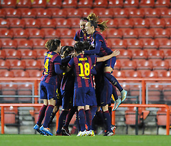 Bristol Academy Womens' Jemma Rose celebrates with her team mates after scoring. - Photo mandatory by-line: Dougie Allward/JMP - Mobile: 07966 386802 - 13/11/2014 - SPORT - Football - Bristol - Ashton Gate - Bristol Academy Womens FC v FC Barcelona - Women's Champions League