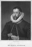 Sir Francis Walsingham, Secretary of State to Elizabeth I, late 16th century. English statesman Walsingham (1530-1590) was principal secretary to Queen Elizabeth I from 1573 until th eyear of his death. He was a skilled diplomat whose knowledge of languages and capacity to organize espionage activities made him invaluable in the execution of Elizabeth's foreign policy. From 'Portraits of Illustrious Personages of Great Britain' by Edmund Lodge, London, 1840.
