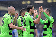 Forest Green Rovers midfielder Darren Carter (12) scores a goal 0-2 and and celebrates during the Vanarama National League match between Chester and Forest Green Rovers at the Deva Stadium, Chester, United Kingdom on 3 September 2016. Photo by Alan Franklin.