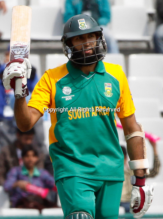 03.03.2011 Cricket World Cup from the Punjab Cricket Association Stadium, Mohali in Chandigarh. South Africa v Netherlands. Hashim Amla of South Africa celebates his hundred during the match of the ICC Cricket World Cup between Netherlands and South Africa