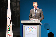 MONACO - DECEMBER 08:  Henri, Grand Duke of Luxembourg speaks to the Committee during board meeting at the 127th IOC Session at the Grimaldi Forum on December 8, 2014 in Monaco, Monaco.  (Photo by Tony Barson/Getty Images)