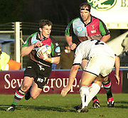 Parker Pen Challenge Cup 14/01/2004 Harlequins v Brive.1st leg...Quins's Mel Deane, looking for the gap. supported by Ceri Jones   [Mandatory Credit, Peter Spurier/ Intersport Images].