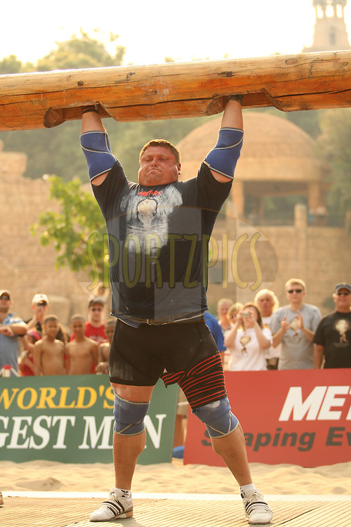 Defending champion Zydrunas Savickas (Lithuania) sets a new event record wih  powerful performance in the overhead log-lift during the final rounds of the World's Strongest Man competition held in Sun City, South Africa.
