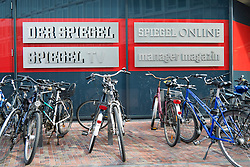 Signs outside new headquarters of Der Spiegel magazine in Hafencity Hamburg Germany