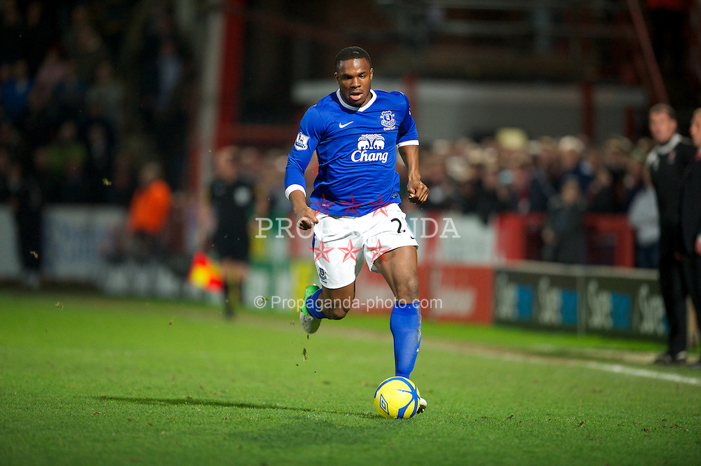 CHELTENHAM, ENGLAND - Monday, January 7, 2013: Everton's Victor Anichebe in action against Cheltenham Town during the FA Cup 3rd Round match at Whaddon Road. (Pic by David Rawcliffe/Propaganda)