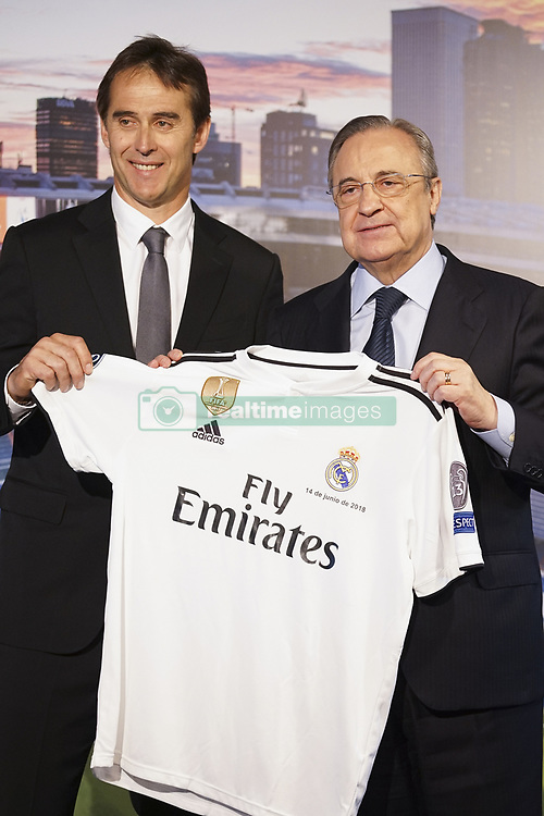 June 14, 2018 - Madrid, Spain - Julen Lopetegui the new head coach of Real Madrid  poses with Florentino Perez, President of Real Madrid at Santiago Bernabeu Stadium on June 14, 2018 in Madrid, Spain. (Credit Image: © Oscar Gonzalez/NurPhoto via ZUMA Press)