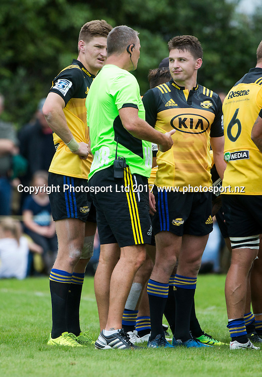 Barrett brothers, Jordie and Beauden chat with the team trainer. Hurricanes v Crusaders, Super rugby preseason match, Farmlands Grass Roots Rugby, Border Rugby Club, Waverley, New Zealand. Friday,  17 February, 2017. Copyright photo: John Cowpland / www.photosport.nz
