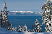 Lake Tahoe as viewed from Diamond Peak ski resort in Incline Village after a snow storm.