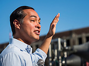 09 AUGUST 2019 - DES MOINES, IOWA: JULIÁN CASTRO speaks at the Des Moines Register Political Soapbox at the Iowa State Fair Friday. Castro, the Secretary of Housing and Urban Developement during the Obama administration, is running for the Democratic nomination for the US Presidency in 2020. Iowa hosts the the first election event of the presidential election cycle. The Iowa Caucuses will be on Feb. 3, 2020.      PHOTO BY JACK KURTZ