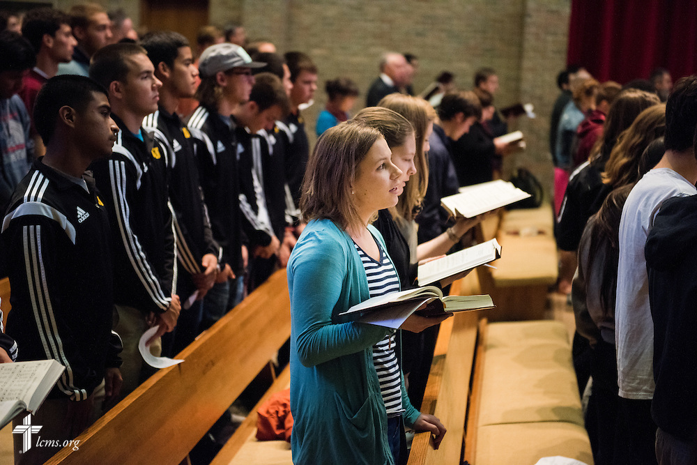 Students sing during chapel service in the Chapel of Our Lord on the campus of Concordia University Chicago in River Forest, Ill., on Friday, Oct. 10, 2014. LCMS Communications/Erik M. Lunsford