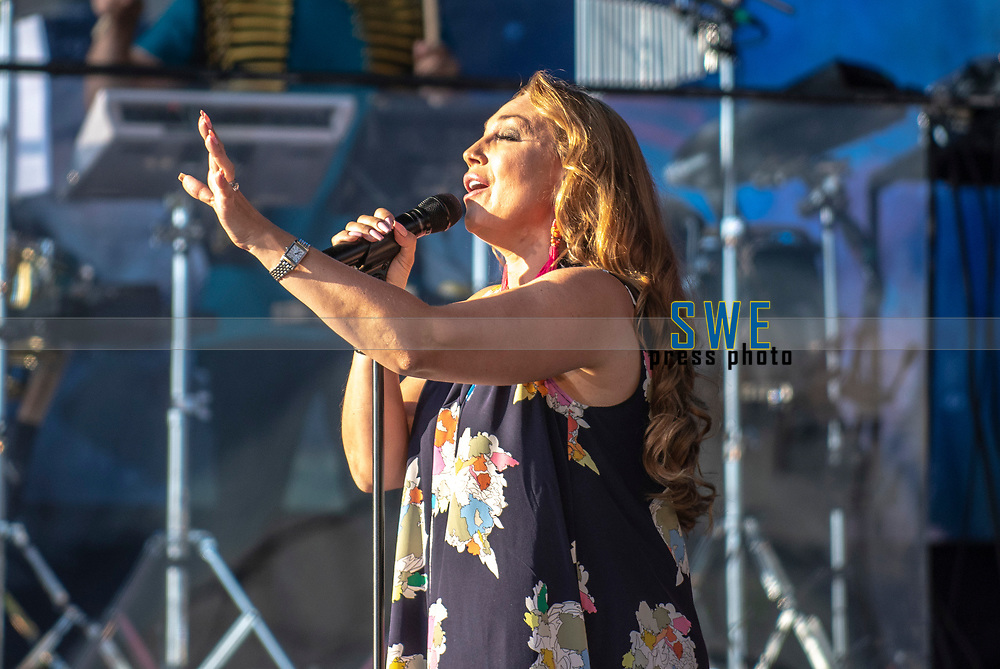 2018-07-06 | Hok, Sweden: Charlotte Perrelli during the Diggiloo show at Hooks Herrg&aring;rd ( Photo by: Marcus Vilson | Swe Press Photo )<br /> <br /> Keywords: Artists, Diggiloo, Show, Singers, Sweden, Tour, Music, Hok, Hooks Herrg&aring;rd, Charlotte Perrelli