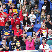 HARRISON, NEW JERSEY- OCTOBER 16:  New York Rede Bulls fans celebrate a goal from Bradley Wright-Phillips #99 of New York Red Bulls  during the New York Red Bulls Vs Columbus Crew SC MLS regular season match at Red Bull Arena, on October 16, 2016 in Harrison, New Jersey. (Photo by Tim Clayton/Corbis via Getty Images)