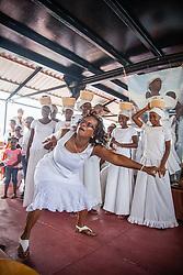 Beatrice Grant dances the Bamboula.  9th Annual Dollar Fo' Dollar Culture and History Tour, a remembrance of the 1892 Coal Workers Strike on St. Thomas.  20 September 2014.  St. Thomas, USVI.  © Aisha-Zakiya Boyd