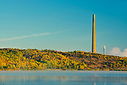 Superstack and reclaimed landscape. Kelly Lake.  Kelly Lake Road. <br />Greater Sudbury<br />Ontario<br />Canada