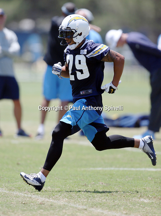 San Diego Chargers rookie cornerback Craig Mager (29) chases the action during the San Diego Chargers Spring 2015 NFL minicamp practice on Wednesday, June 17, 2015 in San Diego. (©Paul Anthony Spinelli)