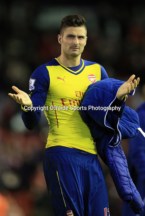 21 December 2014 - Barclays Premier League - Liverpool v Arsenal - Olivier Giroud of Arsenal shrugs his shoulders after his side conceded a late goal to draw 2-2 - Photo: Marc Atkins / Offside.
