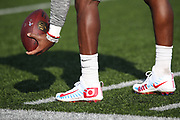 A Buffalo Bills player sports Alpha Menace cleats during the 2017 NFL week 13 regular season football game against the New England Patriots, Sunday, Dec. 3, 2017 in Orchard Park, N.Y. The Patriots won the game 23-3. (©Paul Anthony Spinelli)
