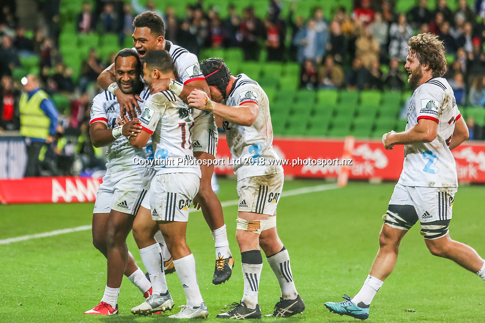 Crusaders celebrate a Manasa Mataele try at the end during Rebels v Crusaders, 2018 Super Rugby season, AAMI Park, Melbourne, Australia. 4 May 2018. Copyright Image: Brendon Ratnayake / www.photosport.nz